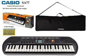 Casio SA 77 TASTIERA PIANOLA SA77 fondo grigio 44 mini Tasti Kit Borsa e 6 PILE