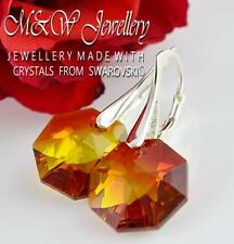 925 Sterling Silver Earrings Crystals From Swarovski® OCTAGON Fire Opal Gold