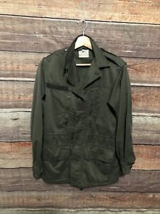 Vintage 1980 French Military Army Jacket Fatigue Uniform Green