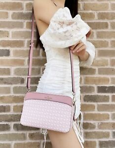 Kate Spade Spade Link Logo Print Light Pink Multi Camera Bag Top Zip Crossbody