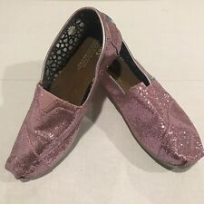 Toms Womens Pink Glitter Classic Slip-On Shoes Flats Size W9
