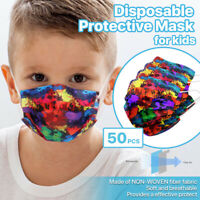 [For KID] 50 PCS Stylish Disposable Face Mask 3-Ply Non-Medical - Watercolor