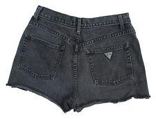 Vintage GUESS Triangle Patch Black Denim High Rise Cutoff Jean Shorts Sz 29 USA