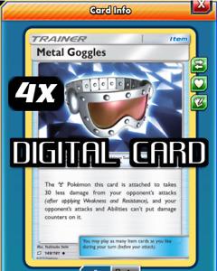 4x Metal Goggles Pokemon TCG Online PTCGO FAST 148/181 Metal DIGITAL CARD