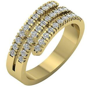 Right Hand Engagement Ring I1 G 1.01 Ct Round Diamond 14K Yellow Gold 7.80 mm