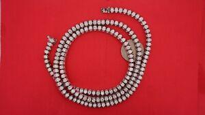 Diamond Tennis Necklace Chain Pyramid Style 100 Grams 14k Gold 13 Carat Diamonds