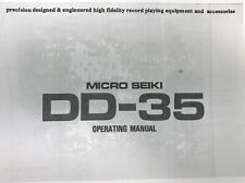 Micro Seiki Model DD-35 Turntable Owners Manual