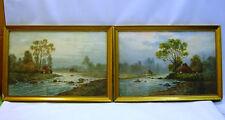 * Pair of Antique 1800's Scottish Watercolos, Landscapes w. Riverside Houses