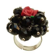 Bague cristal facettes NOIR rose en fimo ROUGE réglable Taille 56 58 60 62 64 66