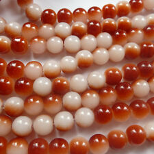Free Ship 400pcs red white  Round glass loose spacer beads 8mm