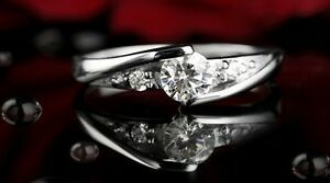 Women's Ladies 925 Silver Plated Crystal Rings Wedding Engagement Ring