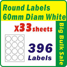 33 Sheets 396 Labels 60mm Diam White Round Blank Labels Inkjet Laser A4 Office