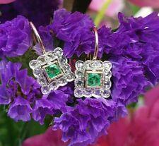 Art Deco Inspired 14ct Rose Gold Square Diamond Drop Earrings Emerald