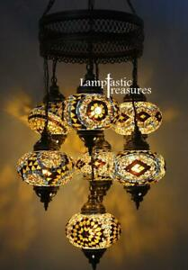 Turkish Mosaic Hanging Chandelier Lamp Hanging Pendant Statement Lighting Gold