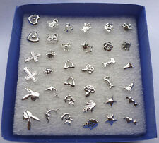 NEW 24 Pairs/Pack Unisex Mix Styles Silver Plated Ear Studs Earrings Wholesale