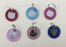 Médaille gravée pour chat avec paillettes 2,5cm - Gravure comprise - 6 couleurs
