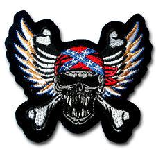 Skull Cross Bone Feather Wings Patch Iron on Chopper Biker Outlaw Gang Tattoo MC