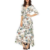 Women's Floral Print Flowy Maxi Dress Boho Button up Split Beach Party Sundress