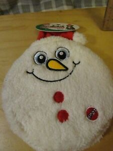 "Ethical pets Flat Jax Holiday Dog Toy 10"" Large Squeaker Disc Christmas snowman"