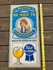 Pabst Blue Ribbon Beer Wooden Sign - Rare White Female Bartender - Free Shipping