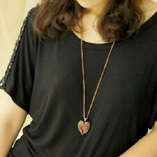 Retro Bronze Angel Wings Heart Crystal Pendant Charms Long Chain Necklace Gift
