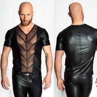 NOIR HANDMADE V-Neck Mesh Grid Top Wetlook Shirt GOTHIC CLUBWEAR PARTY GAY TOP