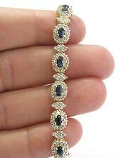 "Fine Gem Sapphire Diamond Yellow Gold Cluster Bracelet 6.5"" 5.60Ct"
