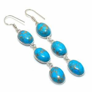 "Copper Blue Turquoise Gemstone Handmade 925 Sterling Silver  Earring 3.03 """