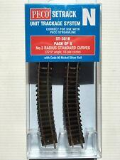 PECO ST-3016 8 x N0.3 Radius (ST16) N Gauge Standard Curve Setrack Code 80 Rail