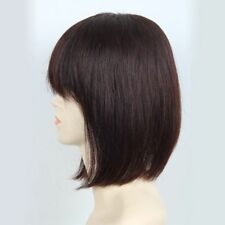 100% Real Human Hair Topper Toupee BOB Clip Hairpiece Bangs Top Wigs For Women