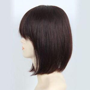 100% Real Human Hair Topper Toupee BOB Clip Hairpiece Bangs Top Wigs For Women