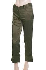 New Ladies Satin Trousers Green Size 6 (36) Capri Length 3/4