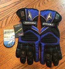 Vintage XL Leather Teknic With Kevlar & Aquaslim Motorcycle Gloves Black Blue