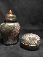 Vintage Asian Porcelain Lidded Ginger Jar & Lidded Trinket Dish Macau 1980's