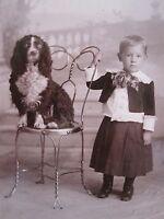 ANTIQUE COCKER SPANIEL DOG BOY INGALLS BLOCK DULUTH MN THIEL CABINET CARD PHOTO