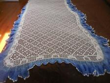 "2 Vintage hand Crocheted twin bed coverlets Both Approx 44""X93"" Lovely BLUE&Whit"