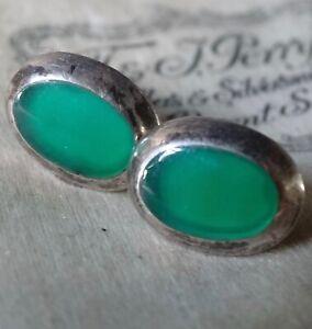 vintage 925 STERLING SILVER apple green stone chalcedony pierced earrings -79