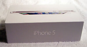 iPhone 5 BOX ONLY, White, 16GB, Quick Start Guide, Apple Decals, EarPods Case