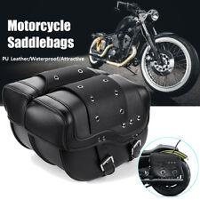 2x Motorcycle PU Leather Luggage Saddle Bags for Honda Suzuki Kawasaki Yamaha AU