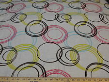 "~3 3/8 YDS~MODERN RETRO~CUT VELVET ""CIRCLES"" ~LINEN UPHOLSTERY FABRIC FOR LESS~"
