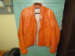 vintage schott jacket cafe racer motorcycle 60s 70s tan leather biker coat 42