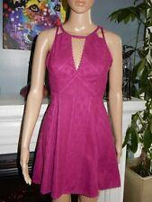 Free People Lace Print Dress Fuschia Miss Connections Cutouts Yoke Neckline 2 EC