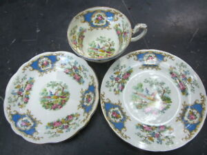 """collectors c1960 FOLEY bone china  """"Broadway"""" tea cup, saucer & plate - all near"""
