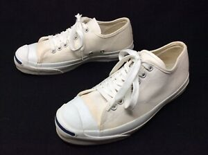 Vintage Converse Jack Purcell Shoes Made In USA 1980s Cream Sz 7.5