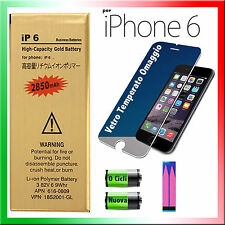 BATTERIA NUOVA per APPLE iPhone 6 2850mAh MAGGIORATA + ADESIVO E VETRO -0 CICLI