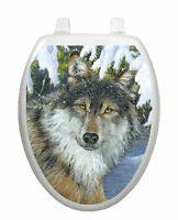 Toilet Tattoos Toilet Seat  Lid Decor Lone Wolf Seat Cover  Brown and Blue 1078