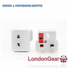 Euro 2 Pin to UK 3 Pin Mains Shaver Adaptor Converter Fitted Fused Plug Socket