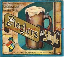 1930s WISCONSIN Beaver Dam ZIEGLERS OLD STYLE BEER Label Tavern Trove