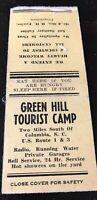 Matchbook Cover Green Hill Tourist Camp Near Columbia SC