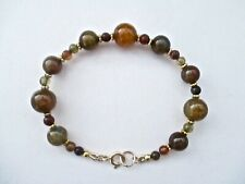 NATURAL DRAGON VEINS AGATE & SILVER BEADED BRACELET ~ A BEAUTY!